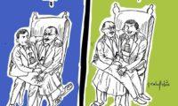 فى كاريكاتير ساخر الفنان رشاد السامعى يوجز العلاقة بين صالح والمليشيات الحوثية