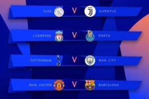 تحديد مواعيد مباريات ربع النهائي – وهذه هي نتيجة قرعة دوري ابطال اوروبا 2019
